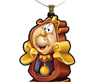 Beauty and the Beast Cogsworth Necklace