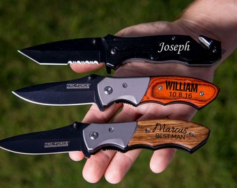 Groomsmen Gift, Pocket Knife, Hunting Knife, Gift for Men, Camping Knife, Groomsman Knife, Engraved Knives, Unique Best Stocking Stuffer