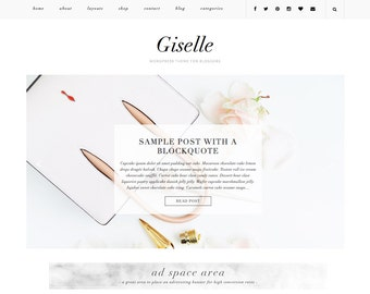 "Responsive Wordpress Blog Theme ""Giselle"" - Feminine Self-Hosted Wordpress Blog Theme"
