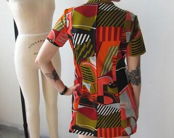 Orange Retro Print Mini Dress