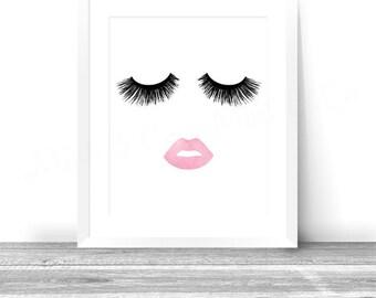 Lips & Lashes Makeup Print INSTANT Download Digital Printable Watercolor Wall Decor Art, eyelashes, eyelash, lash fashion print