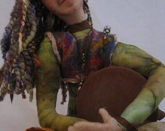 Heartbeat needle felted wet felted figure musician drummer