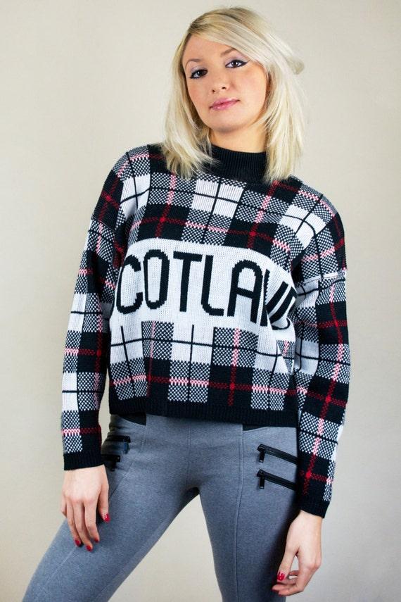 Vintage 90s Plaid Tartan Scotland Red Black White Crewneck Pullover Thick Knit Warm Winter Sweater