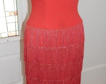 Vintage 1960 Red Fringed Art Deco Style Gown S-M