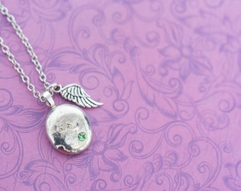 Cremation Pendant - Pewter Memorial Stone with Ashes - Cremation Jewelry - Urn Necklace - Pet Memorial - Ash Necklace