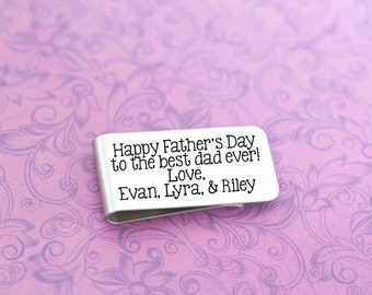 Engraved Money Clip - Personalized Money Clip - Father's Day - Grandfather Gift - Stainless Money Clip - Dad Gift
