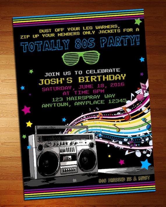 80er Jahre Party Einladung   80er Party   Retro Laden   Party Einladung    Printable   Retro Geburtstagsparty   80er Jahre Einladung   80er Jahre Party