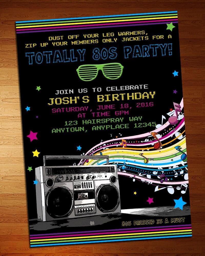 80\'s Party Invitation 80s Party Retro Invite
