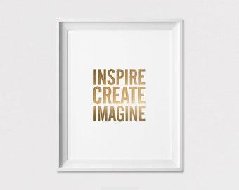 Wall Art, Inspire Create Imagine, Simulation of Gold Print, Wall decor, Typography Art, Minimalist poster, Home Decor, ArtFilesVicky