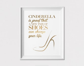 Funny quote wall art print, Poster, Cinderella faux gold print, fashion print, inspirational, Wall Decor, Home Decor, ArtFilesVicky