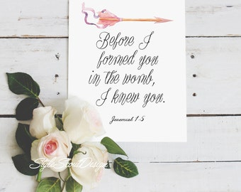 Jeremiah Bible Verse wall art - floral art print, Printable quotes, wall art prints - Jeremiah 1:5