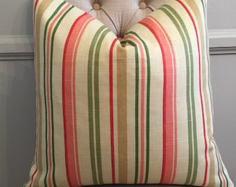 Handmade Decorative Pillow Cover - Striped - Mill Creek Mikka Stripe - Green - Red - Peach - Beige