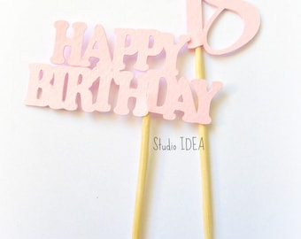 Pink Double-sided Happy Birthday & Age Cupcake Toppers, Food Picks or CHOOSE YOUR COLORS
