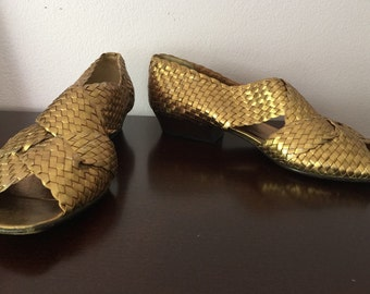 Petra Gold Woven Wedge Sandals, Size 6 M - Vintage
