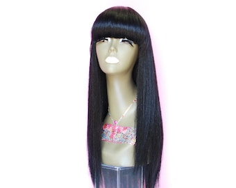 "WiShe Cosmos: 100% Remy Human Hair Wig - Fuller Hair with Cute Bang (16"" long) Jet Black Color"