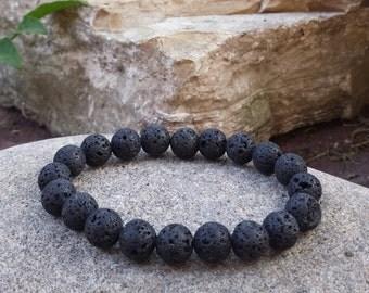 FREE SHIPPING-Men Bracelet,Men Beaded Bracelet,Natural Stone Men Bracelet,Round Lava Stone Bracelet,Black Stretch Men Bracelet,Men Jewelry