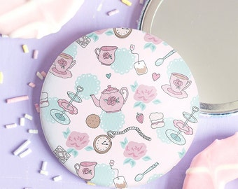 Tea Party Pocket Mirror - Time For Tea Collection - Gift for Tea Lovers