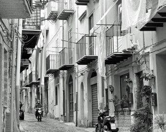 Black and White Travel photography, Sicily Italy Photo, Cefalu, Europe Decor, Palermo, blaconies, motorcycle, wall art, fine art print