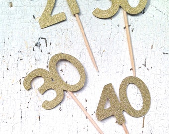 Glittery Number Party Picks | Set of 12