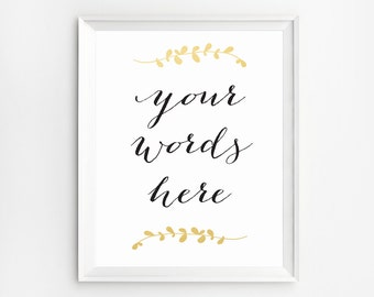 Custom Print, Personalized Printable, Personalized Wall Art, Custom Prints, Personalized Print, Typography Art, Gold Custom Gift, Laurels