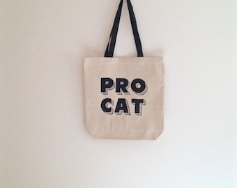 Pro Cat canvas tote bag, black cat bag, natural, shoulder bag, shopping bag, reusable grocery, halloween, trick or treating, large tote