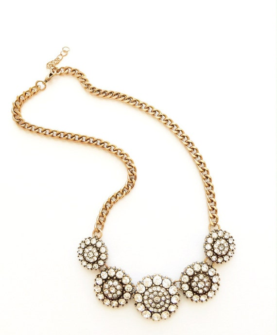 Crystal Medallion Statement Necklace