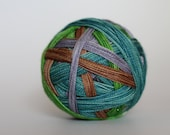 """Dyed to Order: """"Neville (4 color self-striping)"""" -  Leaf Green, Brown, Silver Gray, Watery Blue Stripes"""