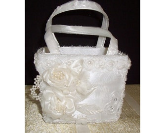 Flower Girl Basket, White Satin with Organza Overlay Flower Girl Basket