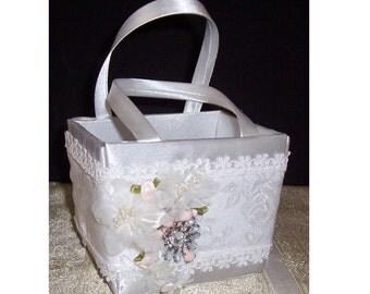 Flower Girl Basket, White Satin Flower Girl Basket