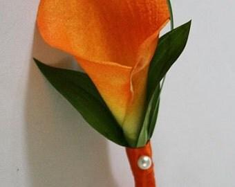 Light orange / pumpkin, calla lily boutonniere / corsage, Real Touch flowers, silk wedding flowers