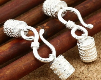 5 Sterling Silver Leather End Cap, Leather Cord End Cap with Hook Clasp, Total Length 33mm Cap Inside Diameter 4.5mm - E548