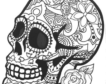 10 more sugar skull day of the dead original art coloring book pages for adults - Dia De Los Muertos Coloring Pages