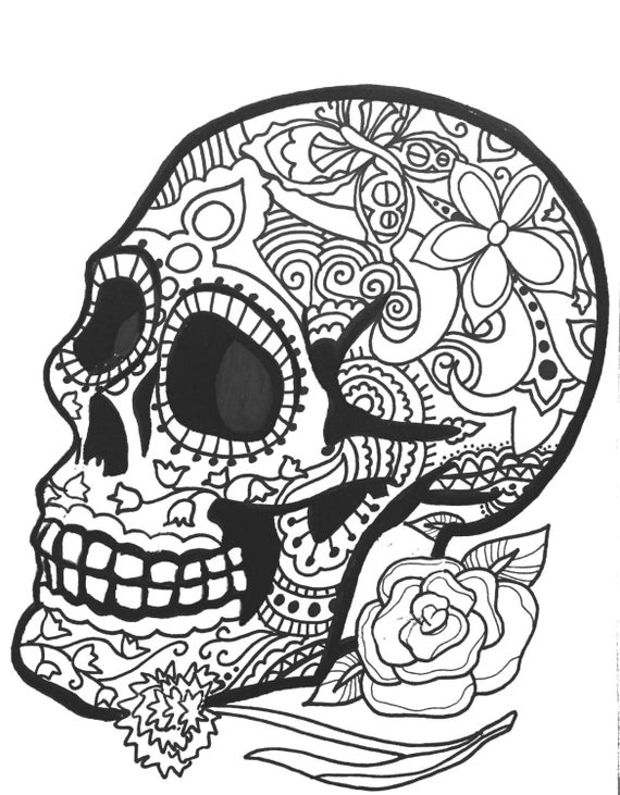 10 more sugar skull day of the dead original art coloring book pages for adults dias de los muertos coloring pages for adults printable - Day Of The Dead Coloring Book