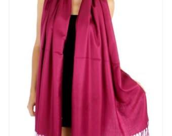 Fuchsia / pink Wedding Pashmina Scarf -  Bridesmaid's gifts - Bridesmaid's scarf - bridal Shawl - party favors