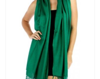 Forest Green / Green Wedding Pashmina Scarf -  Bridesmaid's gifts - Bridesmaid's scarf - bridal Shawl - party favors