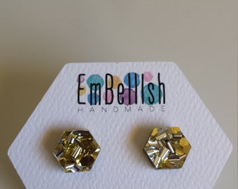 Glitter Acrylic Stud Earrings, GLITZ, Silver, Gold, Surgical Stainless Steel, Statement Earrings