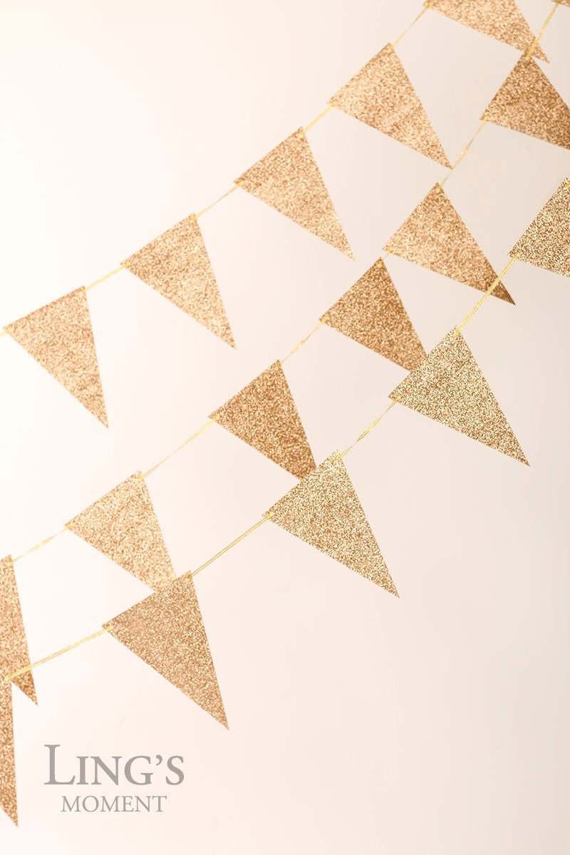 rose gold glitter triangle bunting by blissbylingsmoment