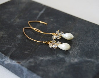 Crystal and Ivory Chandelier Earrings