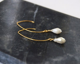 Ivory and Hammered Gold Chandelier Earrings