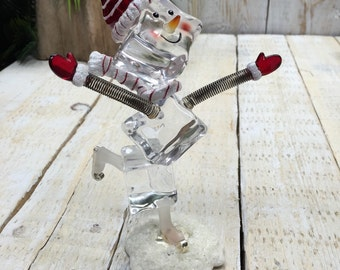 Snowman Ice Skating, Snowmen, Christmas Decoration, Holiday Snowman Decor, Ice Skating Snowman, snowman figurine, Snow Man, Holiday Figurine