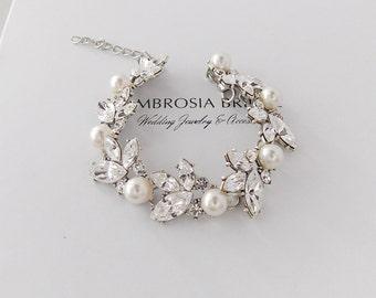 Wedding Bracelet - Bridal Bracelet, Swarovski Crystals, Swarovski Pearls, Leaf Bracelet, Pearl Bracelet, Crystal Bracelet - JUNIPER