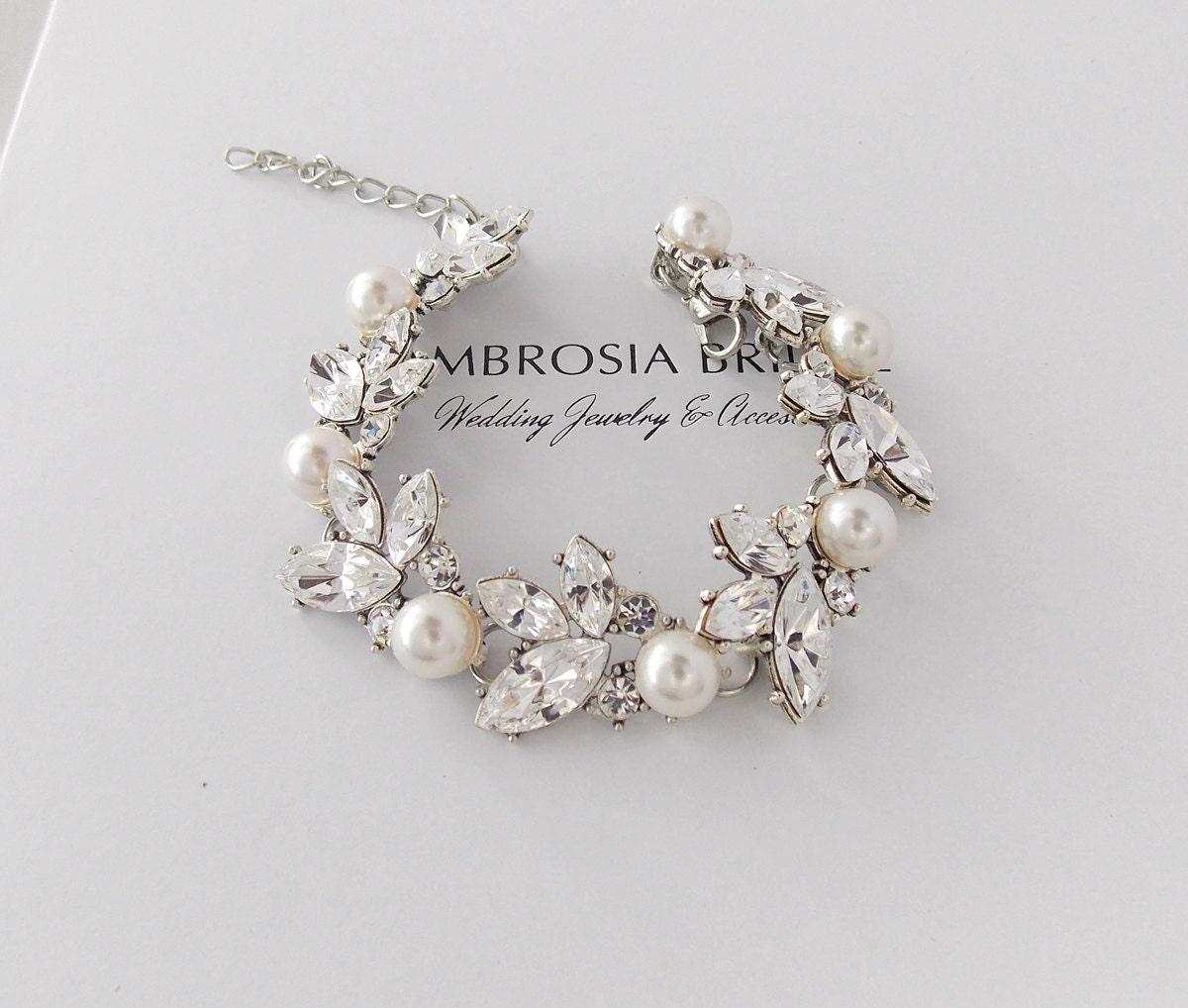 wedding bracelet bridal bracelet swarovski crystals