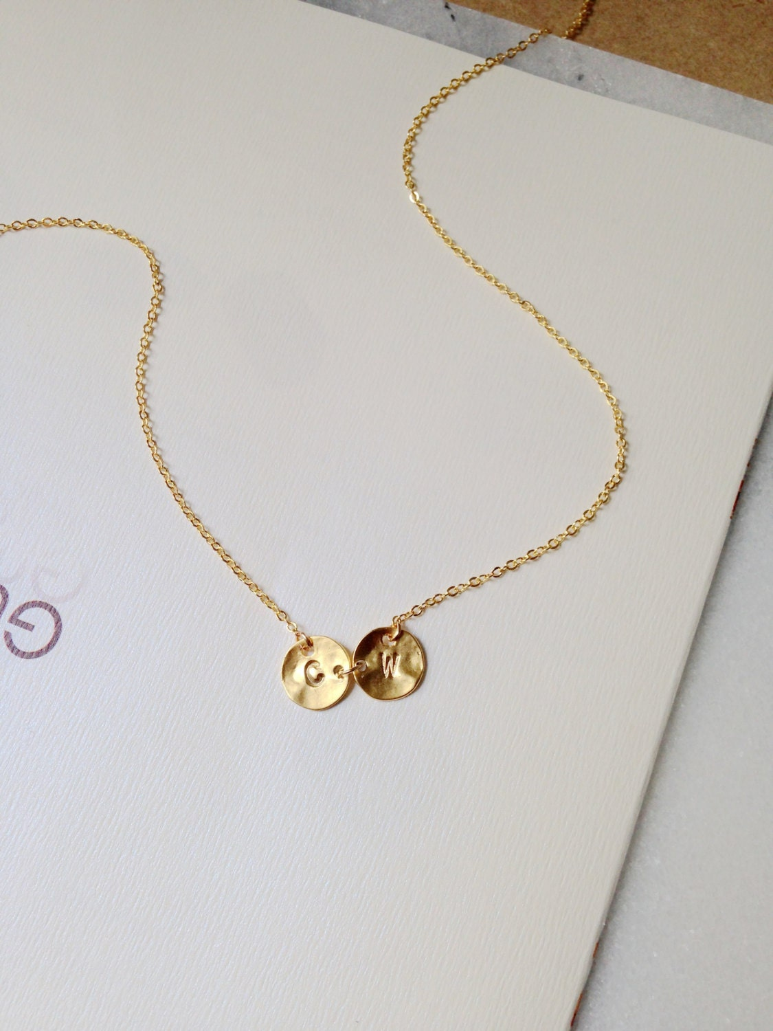 gold disc initial necklace two initial necklace gold coin