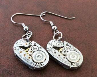 Watch Part Earrings, Gear Earrings, Elgin Earrings, Oval Earrings, Movement Earrings, Steampunk Earrings, Steampunk, Earrings, Silve