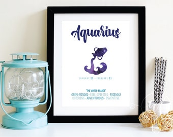 Aquarius - Zodiac Wall art - Zodiac art - Wall art - Astrology print - Astrology art - Zodiac sign - Zodiac Decor - aquarius wall art