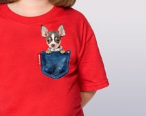 Pet(Chiwawa)in a Jean Pocket T-Shirts, Kids tee, Unique T-Shirts, Kids T-shirts, dog t-shirts, cute kids t-shirts,couple dog tshirts