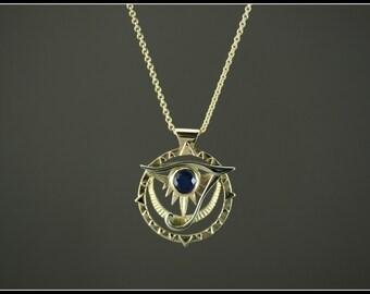 Horus eye egyptian gold pendant - egyptian necklace - gold and sapphire - symbolic women jewelry  - elegant necklace - haut de gamme