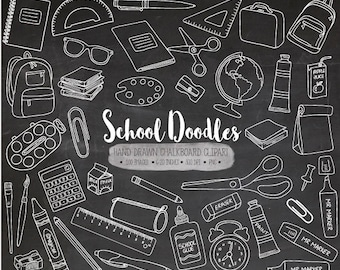 Chalkboard School Clipart. Hand Drawn Chalk Texture School Supplies. Doodle Teacher, Student, Backpack, Office, Stationery Clipart (0012)