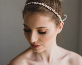 Rose Gold Bridal Headband   Rose Gold Crystal Headpiece   Rose Gold Wedding Hair Accessories   Hair Vine   Delphine Headband - Rose Gold