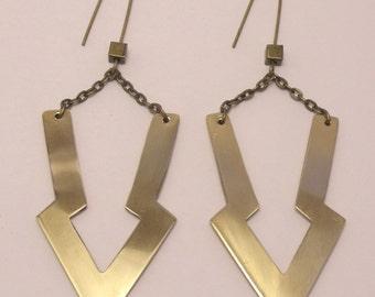 Brass drop arrow earrings
